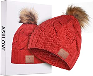 ASIILOVI Bluetooth Beanie, Bluetooth 5.0 Wireless Winter Warm Knit Fur Pom Cap Hats with Double Fleece Lined, Mic and HD Speakers, Gifts for Women Family Thanksgiving Christmas-Unisex (03-Red)
