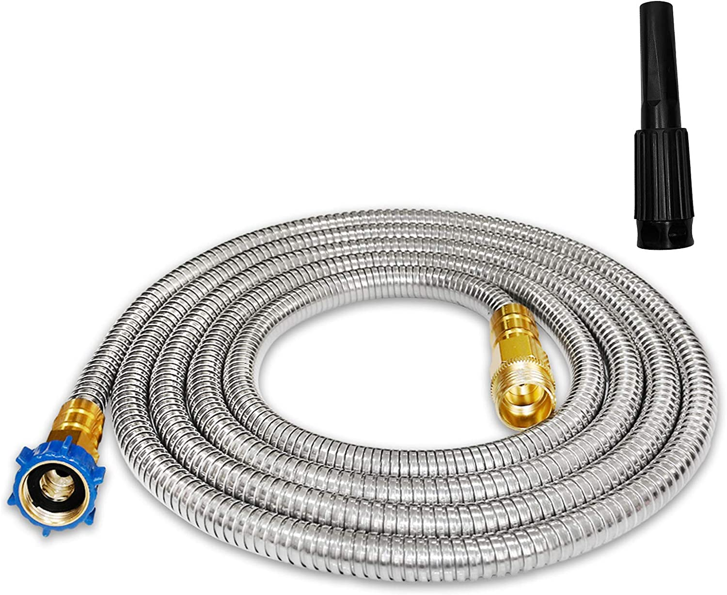 TUNHUI 304 Stainless Steel Garden Hose 10FT Outdoor Hose with Solid Metal Fittings Water Hose with Adjustable Nozzle Flexible Durable Kink-Free and Easy to Store