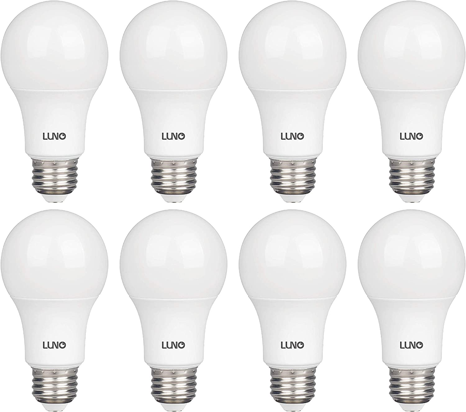 LUNO A19 Non-Dimmable LED Bulb, 6.0W (40W Equivalent), 450 Lumens, 4000K (Neutral White), Medium Base (E26), UL Certified (8-Pack)