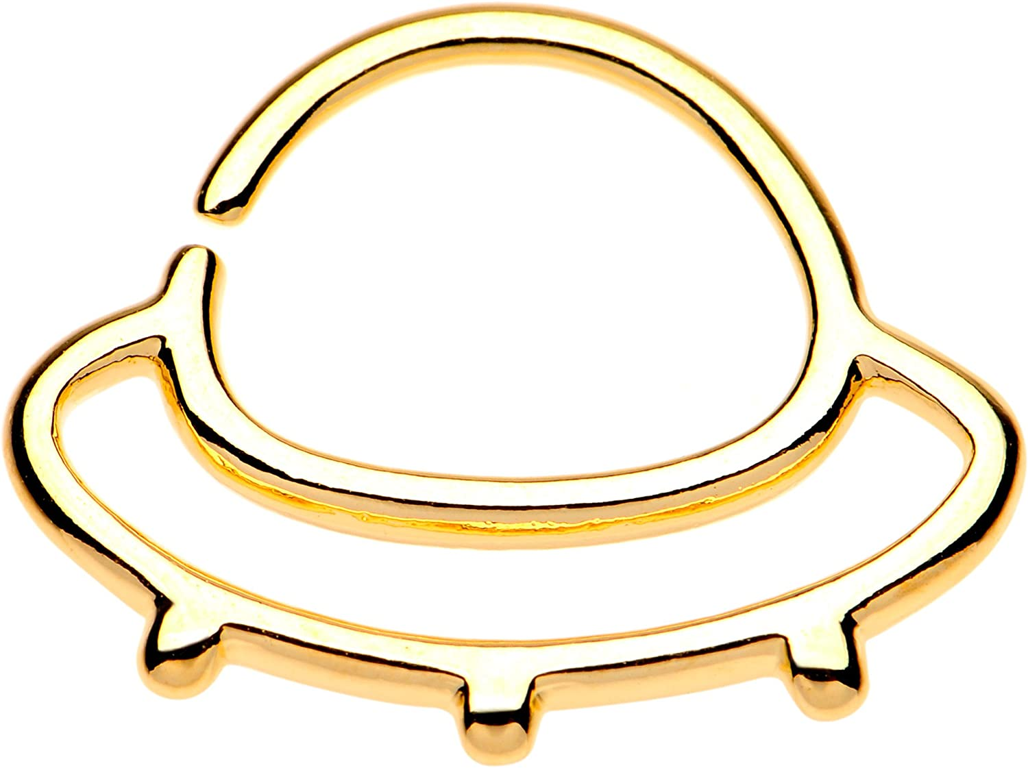 """Body Candy Steel Yellow Outer Space UFO Septum Ring 16 Gauge 3/8"""""""