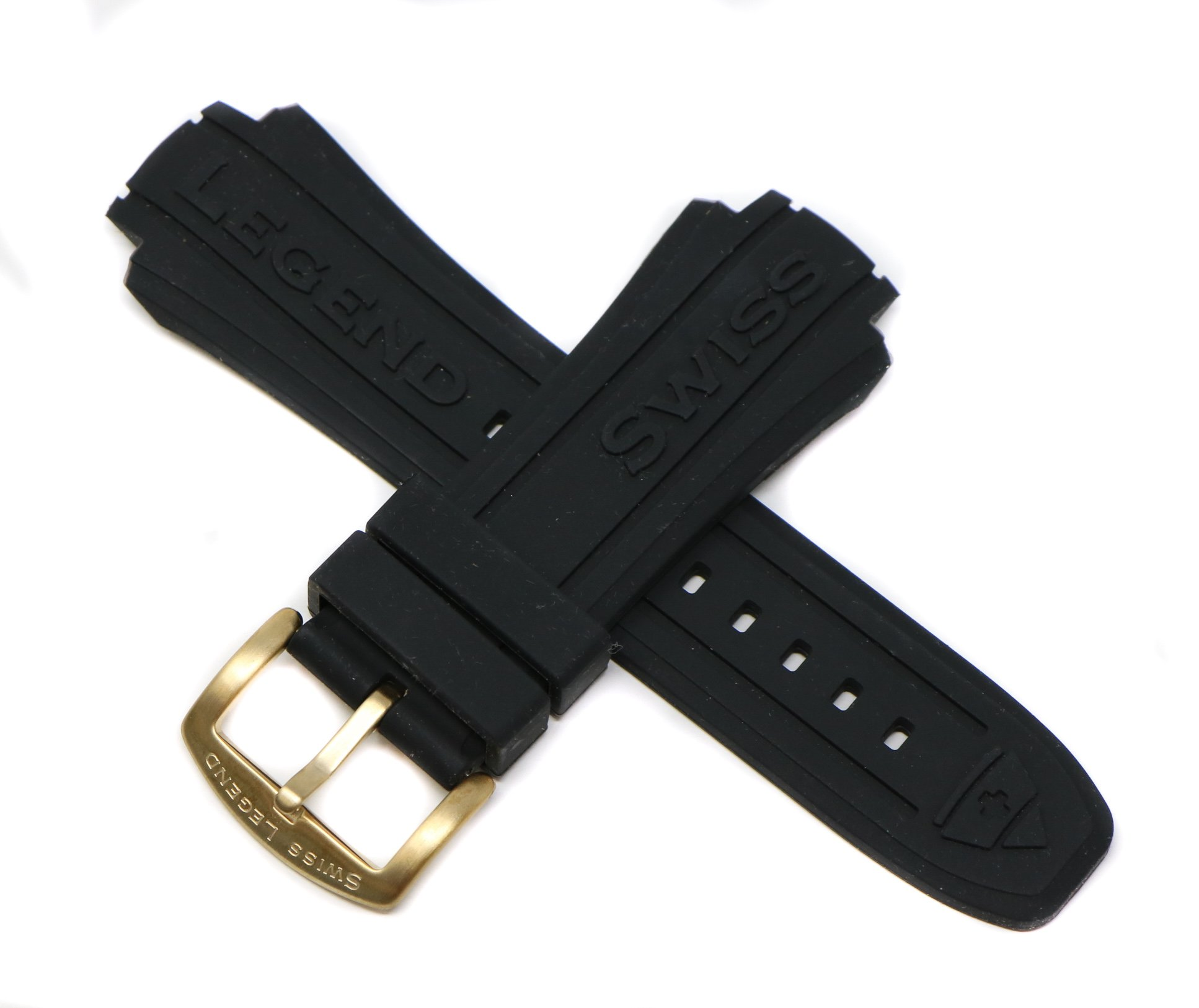 Swiss Legend 19MM Black Silicone Band Strap & Gold Stainless Buckle fits 53mm Neptune Watch