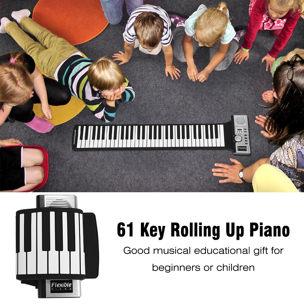 Dwawoo Portable Rolling Up Piano, 61 Keys Electronic Soft Piano Keyboard Hand Rolling Keyboard for Kids Beginners by Dwawoo (Image #9)