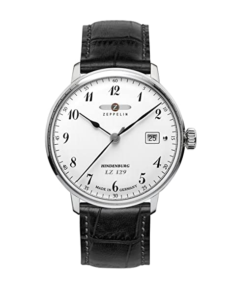 Zeppelin Watches 7046-1 - Reloj analógico de cuarzo para hombre con correa de piel, color negro: Amazon.es: Relojes