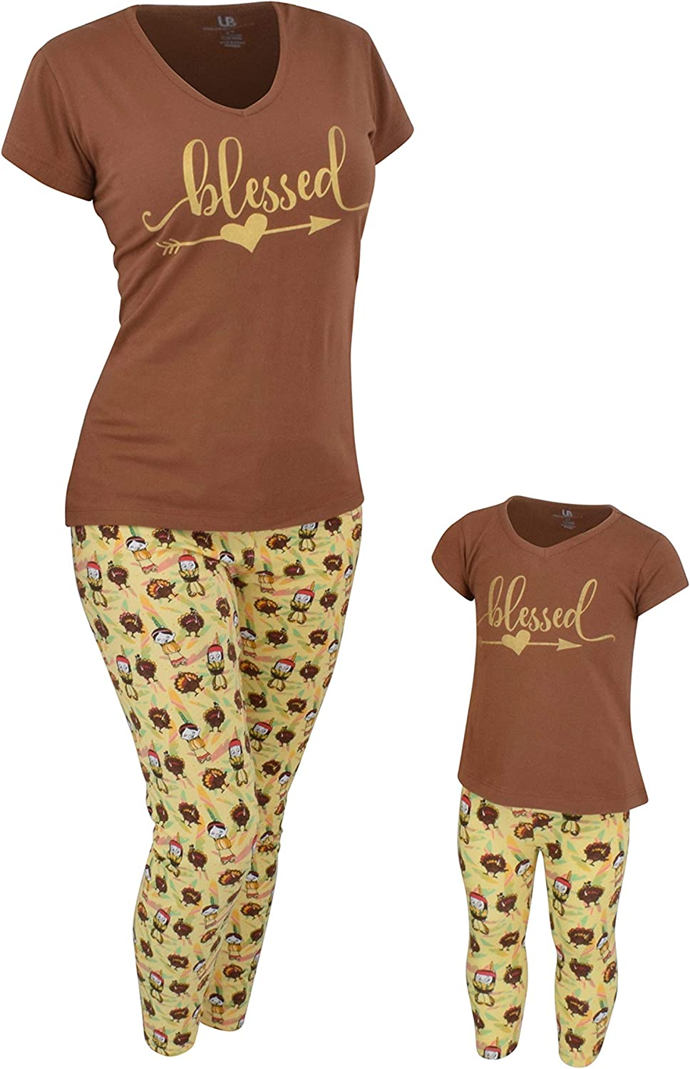 """Unique Baby """"Blessed Thanksgiving Mommy and Me Legging Outfit"""