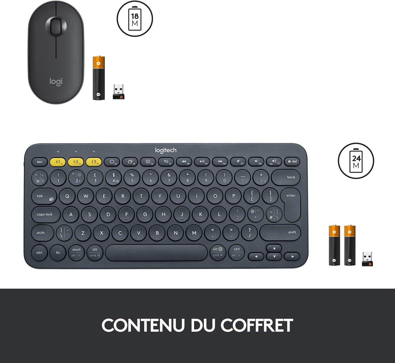 Bluetooth ou 2,4 GHz avec Mini R/écepteur USB Logitech K380 Clavier sans Fil Multi-Dispositifs pour Windows M350 Pebble Souris sans Fil