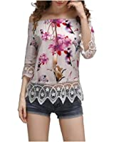 Tootlessly Women's Sleeveless Strapless Lace Trim Ethnic Print Tops