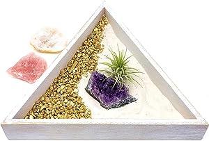 people crystals Crystal Zen Garden for Desk/Gift Set Includes Natural Healing Stones, Air Plant, Sand/New Crystal Cluster Meditation Kit