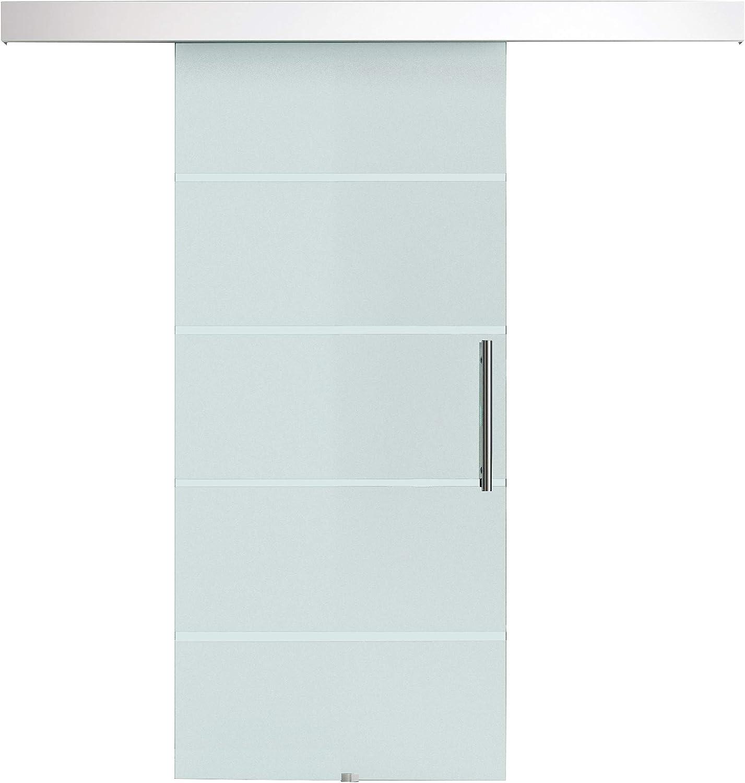 Puerta corredera cristal templado satinado dibujo striure Rail de aleación de Alluminium 200L x 213h cm: Amazon.es: Bricolaje y herramientas