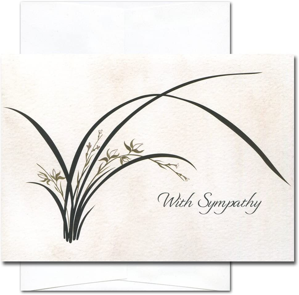 Wild Orchid - Sympathy Cards, box of 10 cards & env Made in USA by CroninCards