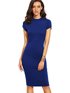 f141b3bf MAKEMECHIC Women's Short Sleeve Classy Solid Stretchy Wear to Work Pencil  Dress