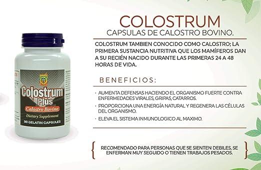 Amazon.com: Colostrum Capsulas de Calostro Bovino. Aumenta las defensas, te hace Fuerte Contra las enfermedades virales, gripas, catarros y alergias.