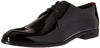 ff73d58de2fcc HUGO by Hugo Boss Men's Dress Appeal Patent Leather Lace Up Derby Uniform  Shoe, Black