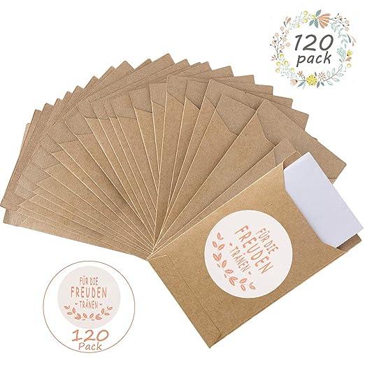 FORMIZON 120 Piezas Bolsas de Regalo, Bolsa Plana de Papel Kraft, Bolsas de Regalo Vintage y Stickers, Ideal para Boda Dulces, Bautizos, Pañuelo, ...
