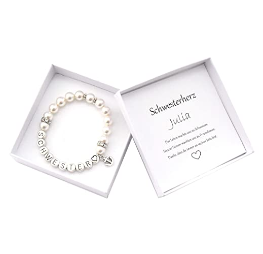 Schwester Armband In Geschenkbox Schwesterherz Perlenarmband Anker