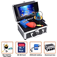 """Portable Fish Finder Camera,Video Recording Edition Fishing Camera System Kit with DVR 7"""" Color Monitor LCD HD 1000TVL IP68 Underwater Camera 30m Cable 4500mAh Rechargeable Battery for Boat,Kayak,Ocean,Ice,Lake Fishing"""