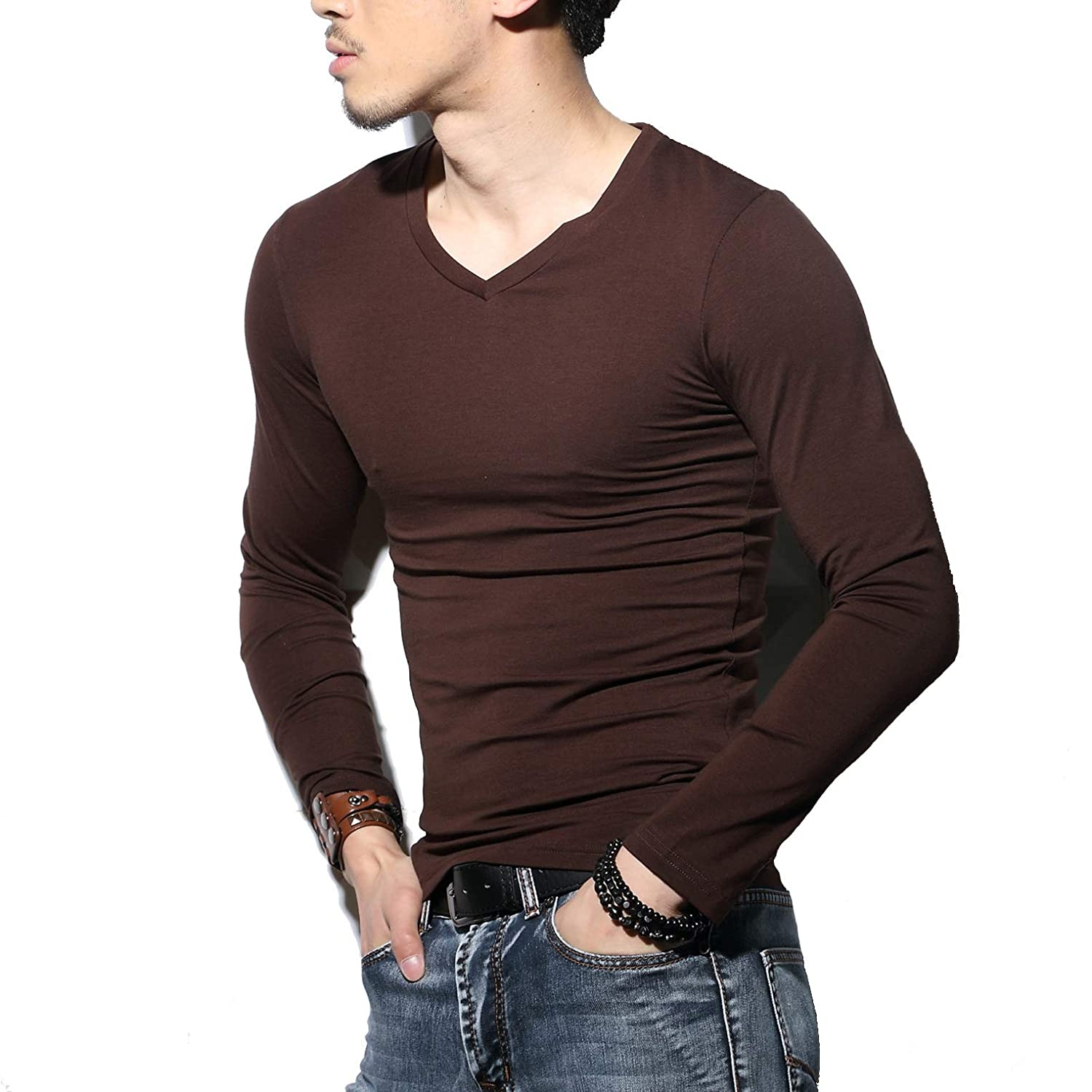 Sunshine Code Men's Tagless Slim Fit Top Muscle Cotton V-Neck Long Sleeve Undershirts T-Shirts scmshirt03