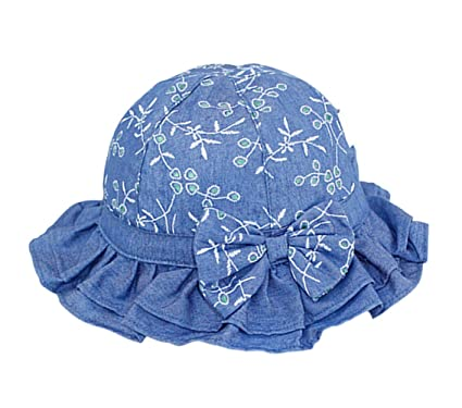 2fc74ae761100 Tortor 1Bacha Infant Baby Toddler Kid Girls  Flower Bowknot Flounce Denim  Bucket Hat ...