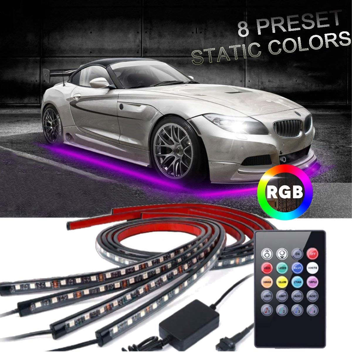 12V 8Color Music Control RGB LED Under Car Glow Underbody Neon Lights Kit+Remote