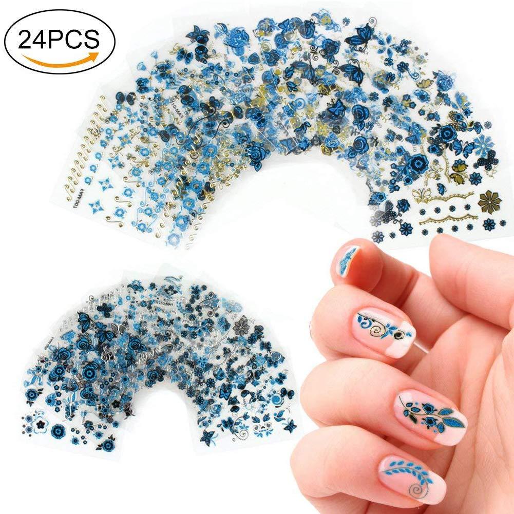 aiuin 24Nail Wraps 3d herrliches Azul–Clavo de láminas de diseño Nail Art Pegatinas Ultra Fina Fácil rápido autoadhesivo langanhaltend/mejor que esmalte de uñas/Gel barniz de 2018