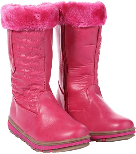 Girls Fur Lined Quilted Winter Boots