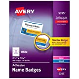 """Avery Flexible Name Tag Stickers, White Rectangle Labels, 400 Removable Name Badges, 2-1/3"""" x 3-3/8"""" (5395)"""