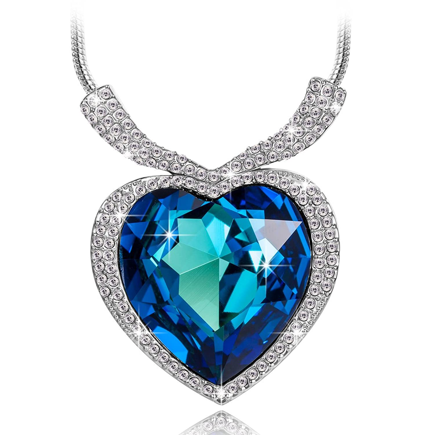 Amazon qianse heart of ocean white gold plated necklace love amazon qianse heart of ocean white gold plated necklace love heart necklaces for women fashion jewelry anniversary gifts for her perfect for festive aloadofball Gallery
