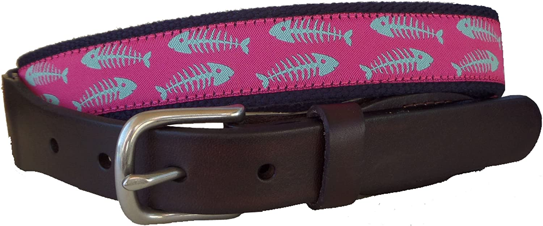 Seafom Green Bonefish on Dark Pink No27 Mens Bonefish Leather Tab and Buckle