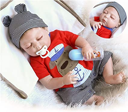 """Full Silicone Anatomically Correct Baby Doll Boy 23/"""" Real Baby Dolls Weighted"""