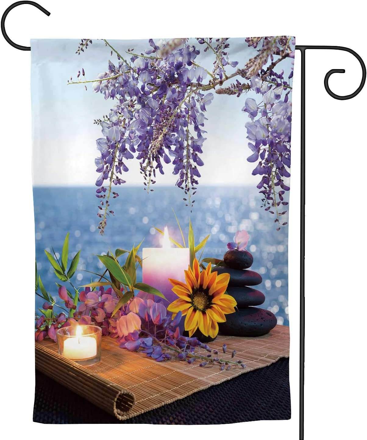 C COABALLA Massage Stones with dais and Wisteria The Seabed Back,Welcome Garden Flag Double Sided Outdoor Decoration 12.5''x18''