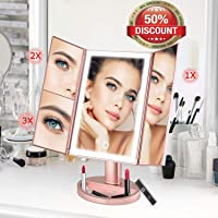 Trifold LED Makeup Mirror wowatt Makeup Vanity Mirror with Lights 36 Led, 2X/3X Magnification Touch Screen Mirror Brightness Adjustable 180 ° Rotatable, Battery & USB Dual Power Supply (Rose Gold)