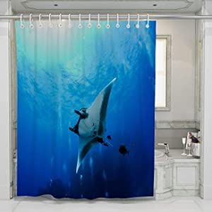 BEISISS Creative Home Bathroom Shower Curtain,Manta Ray at Islas Revillagigedos,Perfect for Bathroom Decor with Hooks