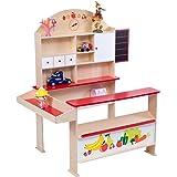 COSTWAY Kaufladen Kaufmannsladen Kinderkaufladen Einkaufsladen Verkaufsstand Marktstand für Kinder mit Tafel aus Holz