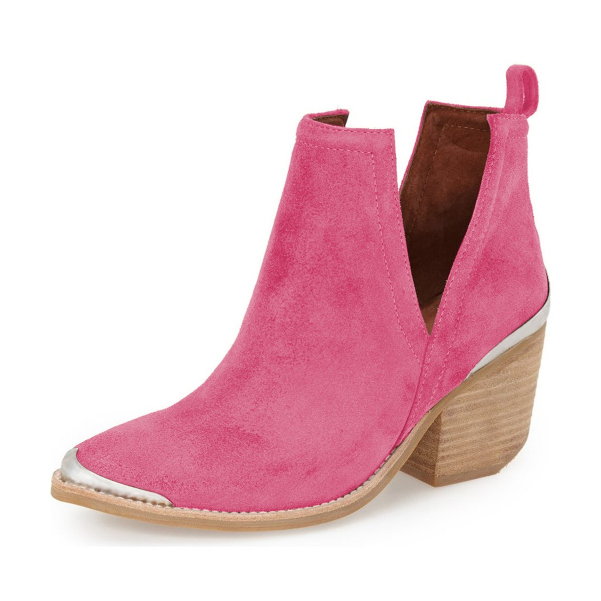 YDN Women Ankle Booties Low Heel Faux Suede Stacked Boots Cut Out Shoes with Metal Toe B07FVQKC7X 8 M US|Fuchsia
