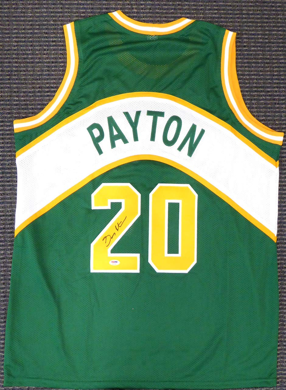 huge discount 7772b 41a14 Seattle Sonics Gary Payton Signed Green Jersey - PSA/DNA ...