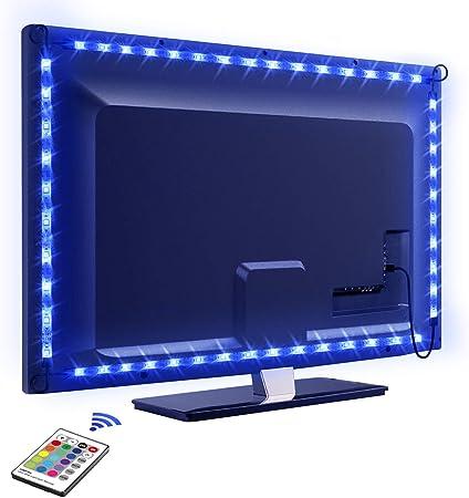 Tira LED TV 2.2M, OMERIL 5050 Tiras LED USB Impermeable con Control Remoto, 16 RGB