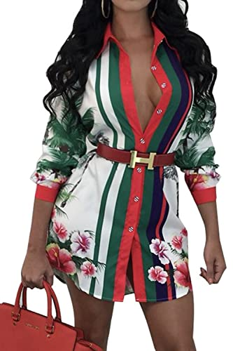 La Mujer Casual Floral Print Top Blusa Camisa Botón MIDI Étnico