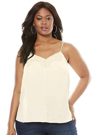 ff884c348b6 Roamans Women's Plus Size Silky Lace Trim Cami at Amazon Women's ...