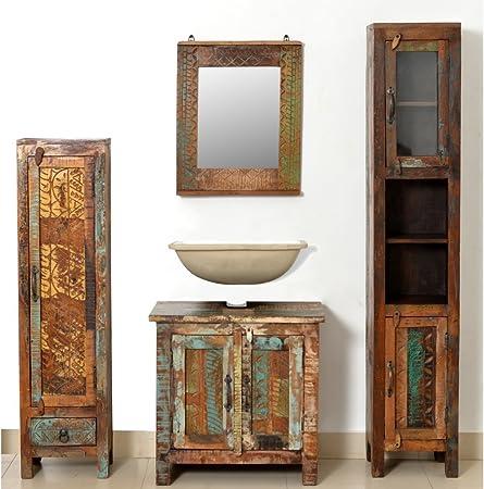 Festnight Set Mobile Arredo Bagno In Legno Anticato Con Specchio E 2 Armadi Laterali Amazon It Casa E Cucina