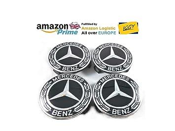 IGGY 4 x Tapones Tapacubos Logo Mercedes Benz DE 75 mm para Tachuelas Círculos Aleación - Clase A B C y CLA CLK: Amazon.es: Coche y moto