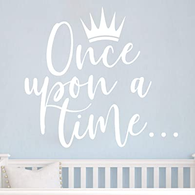 JURUOXIN Once Upon a time with Crown Wall Sticker Art Vinyl Home Quote Decals for Kids Girl Princess Room Nursery Decoration House Interior Design YMX38 (White, 42X38CM): Home & Kitchen