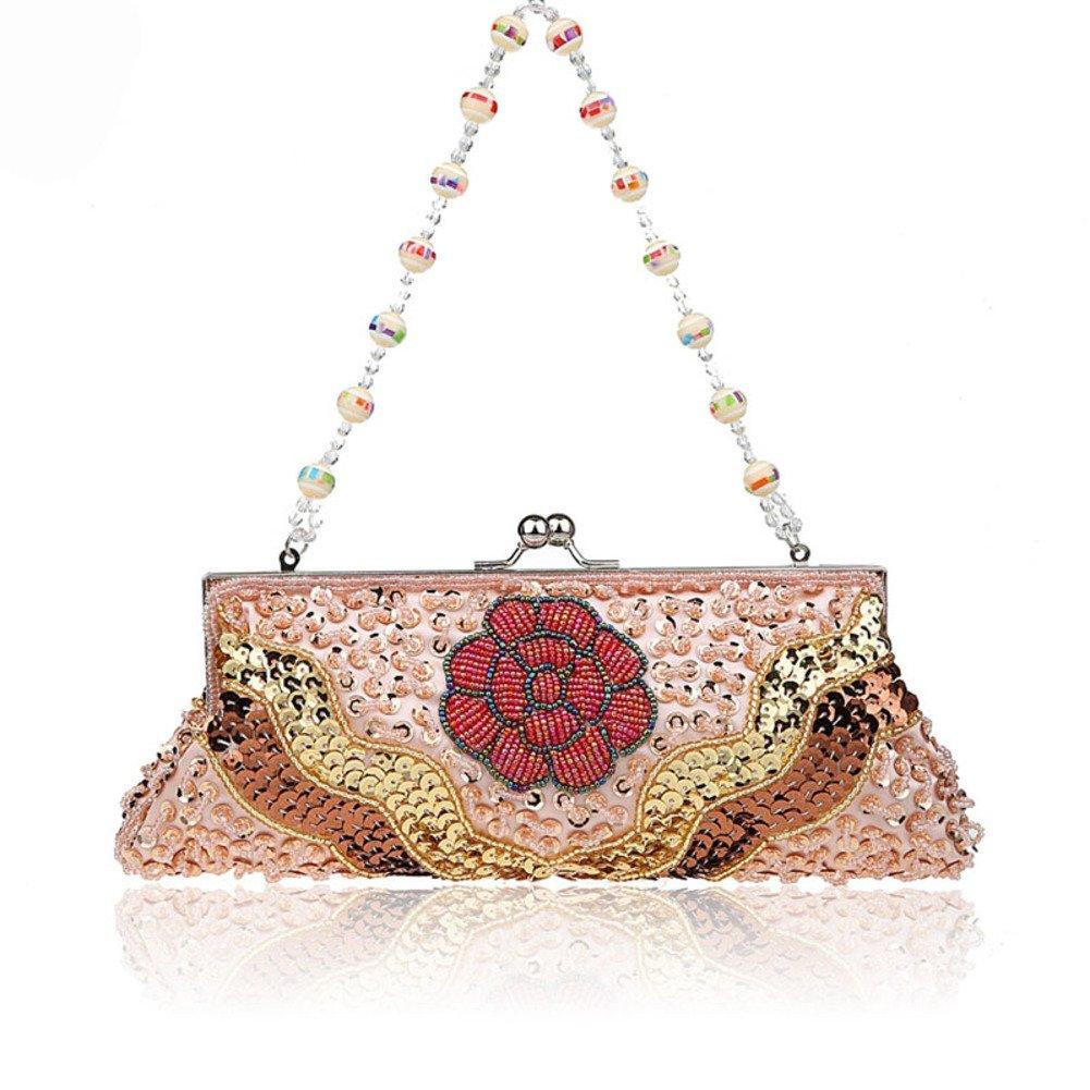 Flowers party moniliforme clutch bag Dinner Package Handbag folk style sequin handbag-D by Modi Co