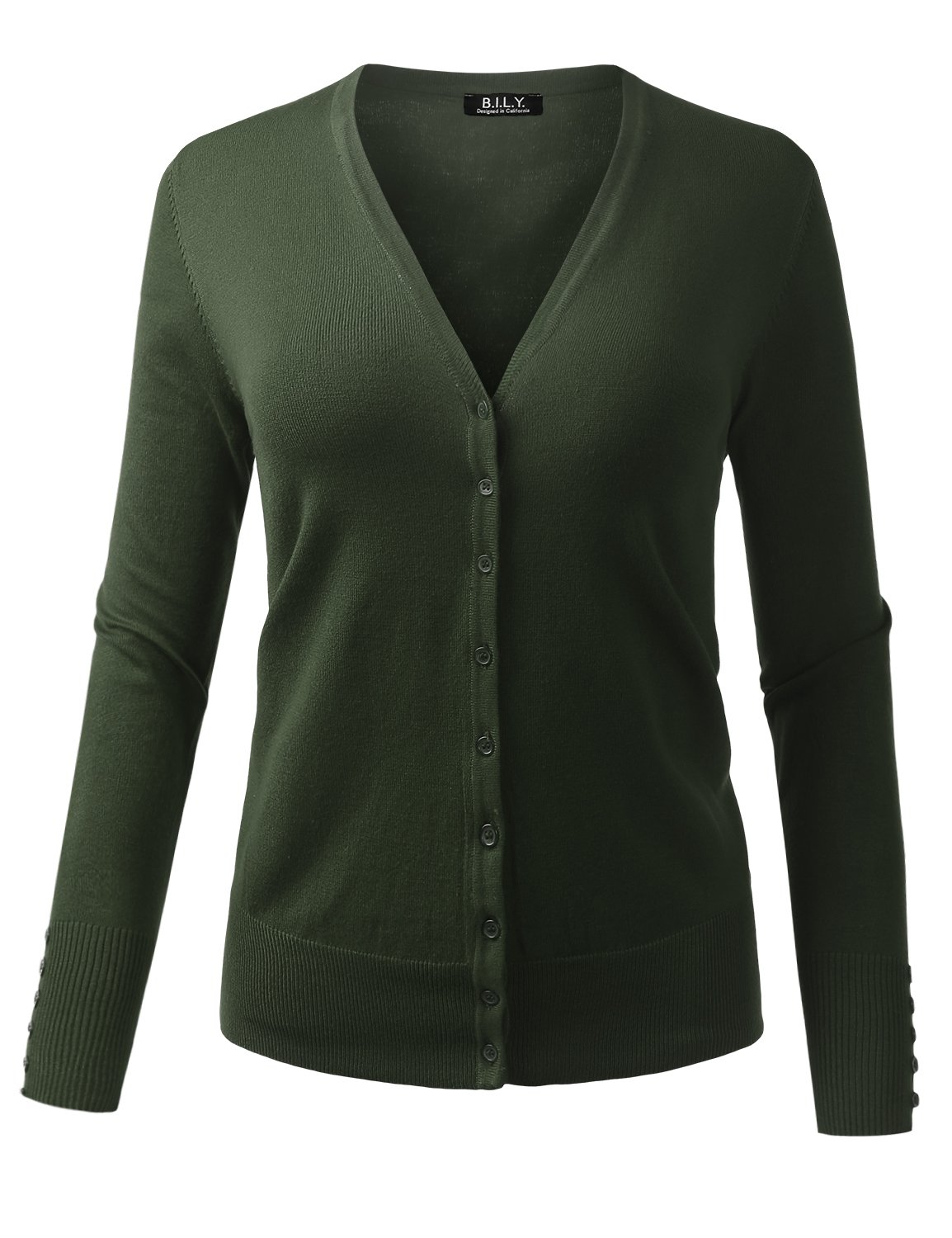 BILY Women's V-Neck Button Down Long Sleeve Classic Knit Cardigan Olive X-Large