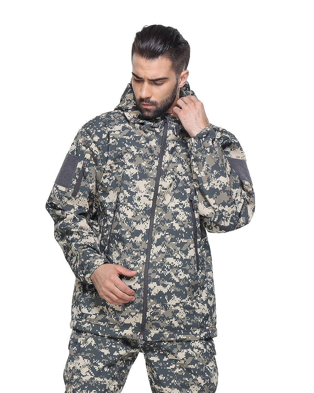 TACVASEN Mens Military Softshell Tactical Jacket Hooded Fleece Coat