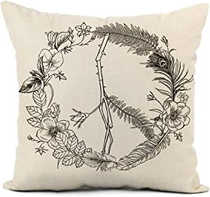 rouihot Linen Throw Pillow Cover Flower Boho Hippie Peace Sign Wreath Floral Hand Love Home Decor Pillowcase 18x18 Inch Cushion Cover for Sofa Couch Bed and Car