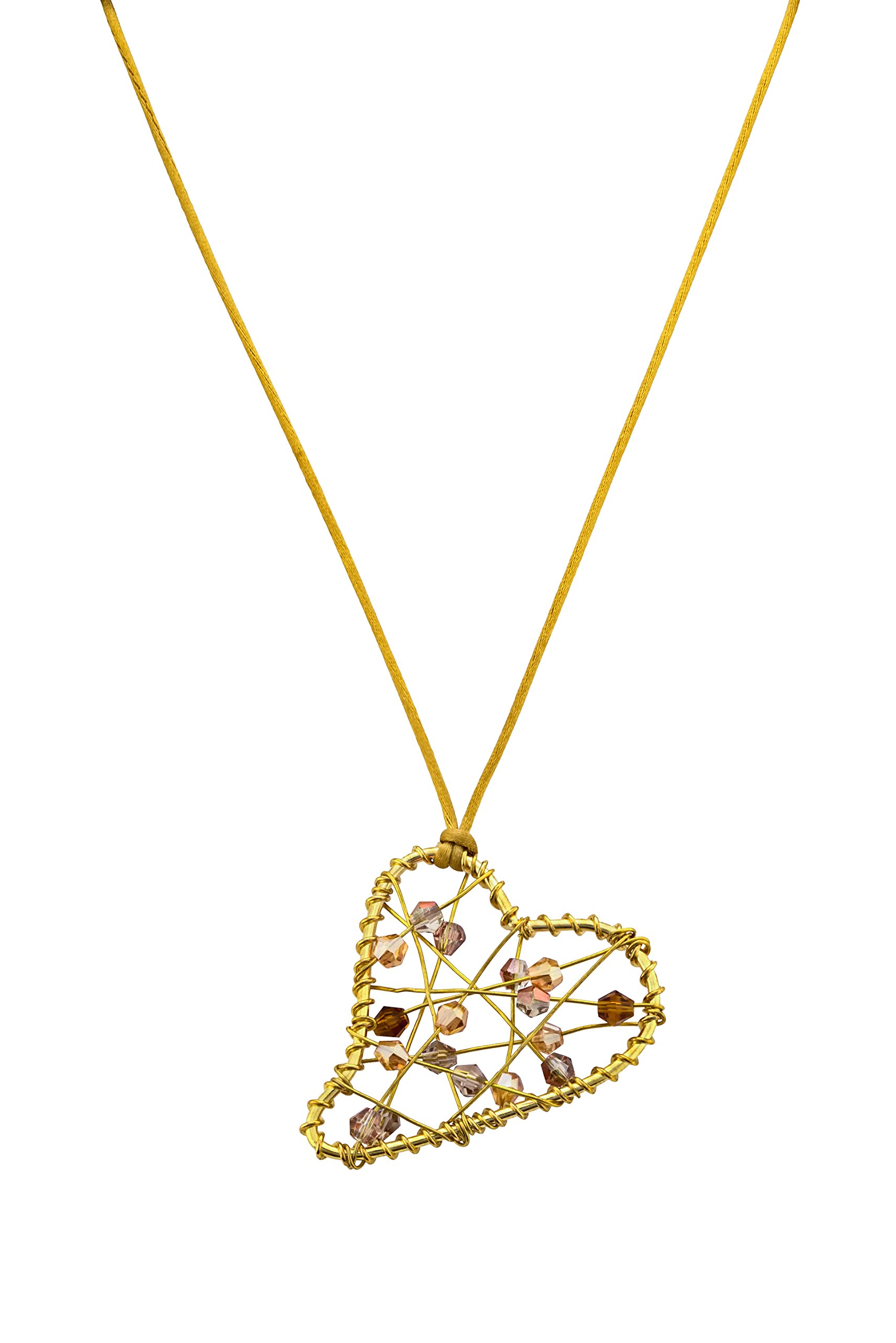 Fairy Gems Gilded Hearts Upscale Luxury Jewelry Making Kit - Gold Shaped Heart Pendant Necklace with Webbed Strands of Beads. Great Fun Custom Crafts for Kids, Teens & Group Activity Projects