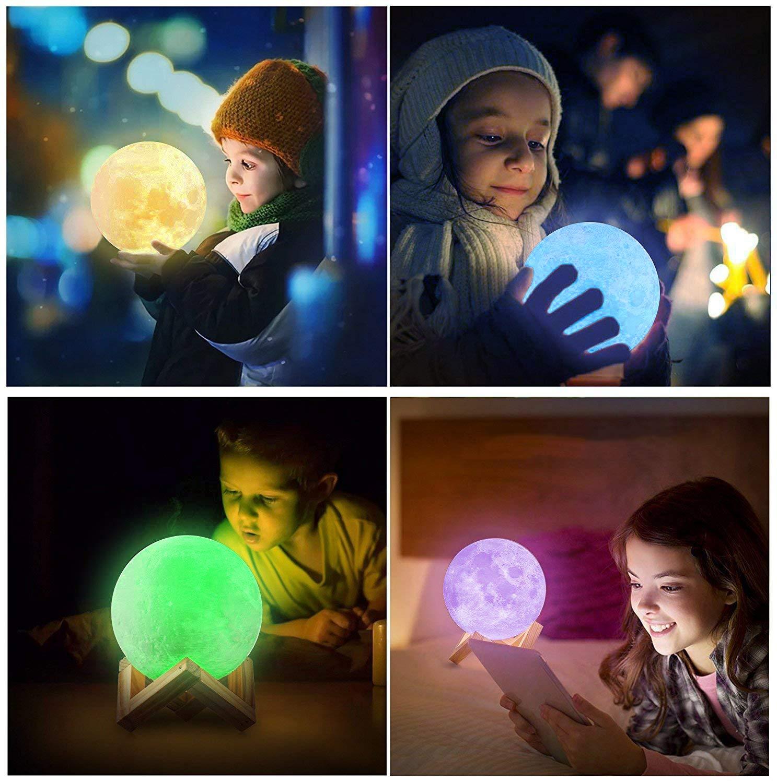 Lampada Luna 3D Stampata Decoro per Stanza Letto Mood Light per Camera Piena Lampada Moon Luna con Diametro 18cm e 16 Colori Ricarica USB Decorativo LED Luce Notturna