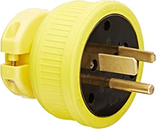 product image for KH Industries P650DF Rubber/Polycarbonate Rewireable Flip Seal Straight Blade Plug, 2 Pole/3 Wire, 50 amps, 250V AC, Yellow