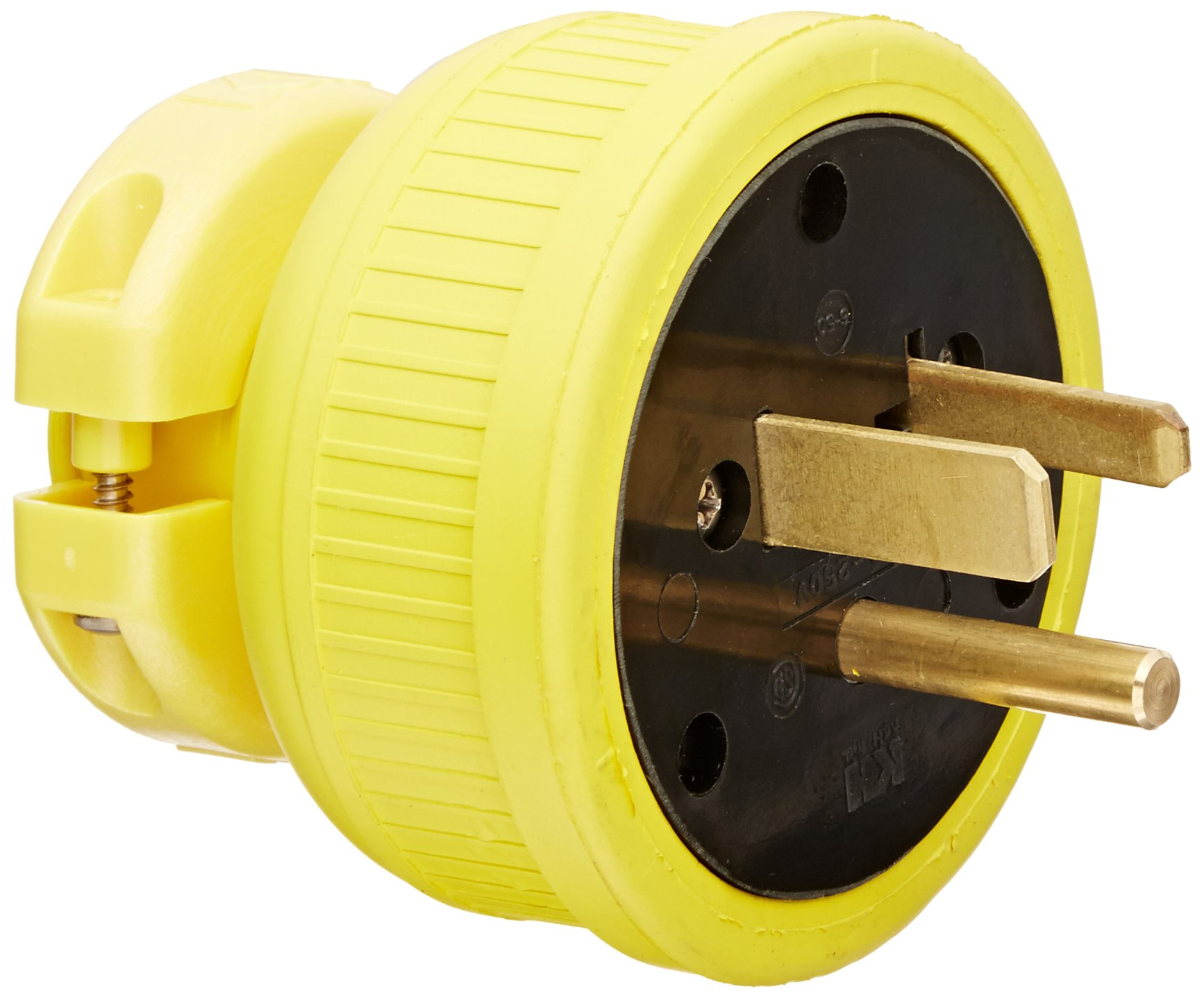 KH Industries P650DF Rubber/Polycarbonate Rewireable Flip Seal Straight Blade Plug, 2 Pole/3 Wire, 50 amps, 250V AC, Yellow by KH Industries