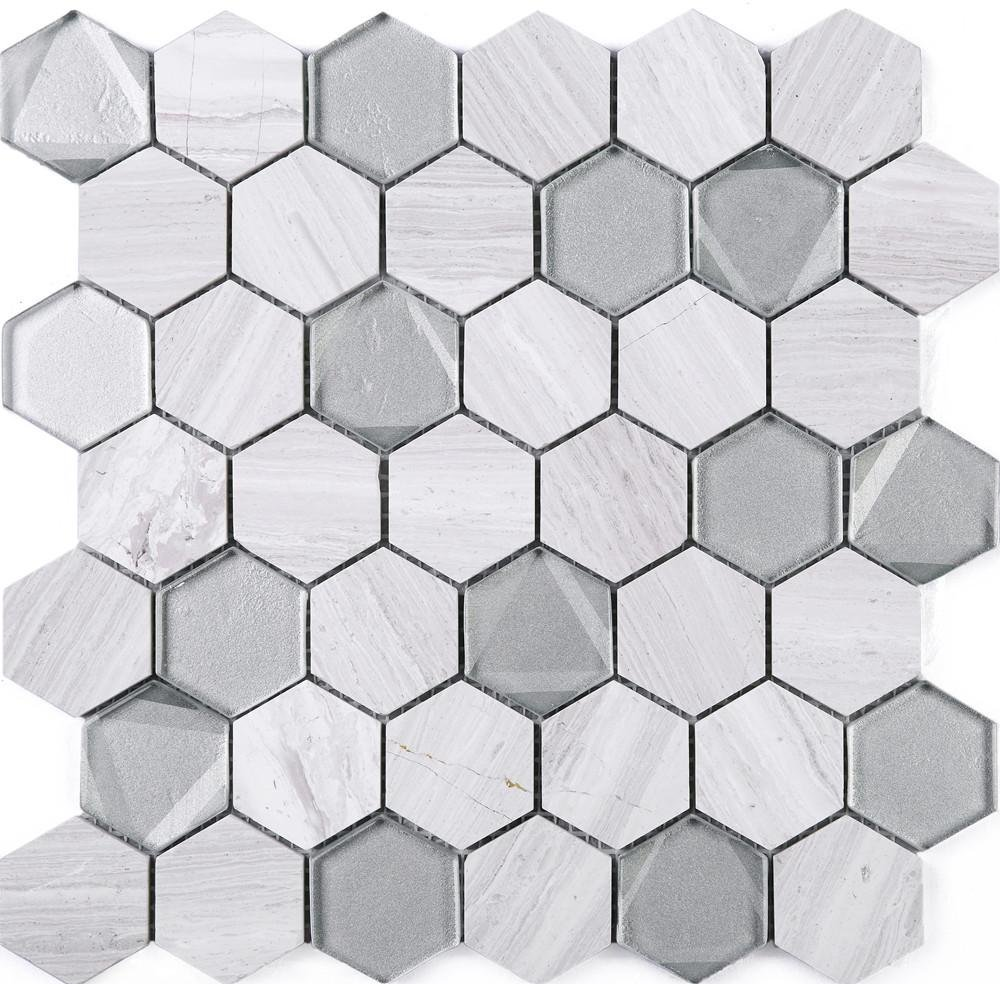 TPHANG-03 Wooden Light Gray Mix Grey Glass 2'' Hexagon Mosaic Tile Sheet-Kitchen and Bath backsplash Wall Tile