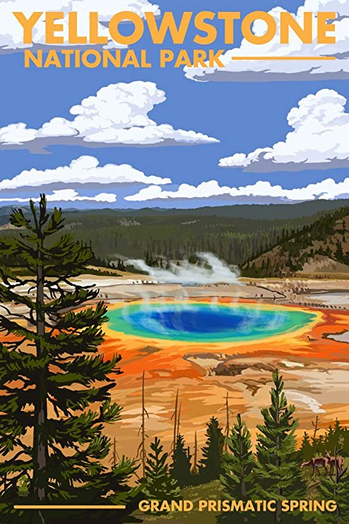 Amazon Com Yellowstone National Park Wyoming Grand Prismatic Spring 16x24 Giclee Gallery Print Wall Decor Travel Poster Posters Prints